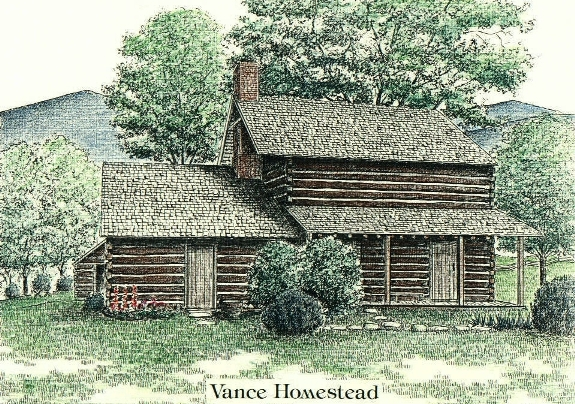 Vance Birthplace, Weaverville NC, pen and ink drawing by Lee James Pantas