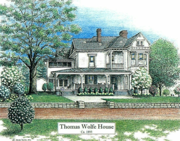 Thomas Wolfe House, pen and ink drawing by Lee James Pantas