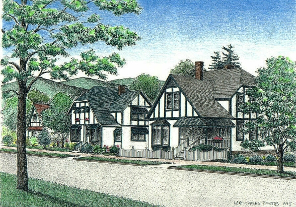 Biltmore Village, pen & ink drawing by Lee James Pantas